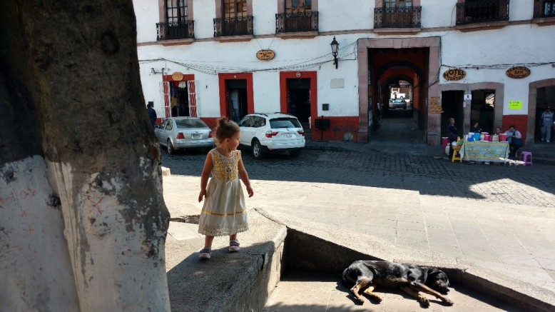 Girl in Mexico with dog