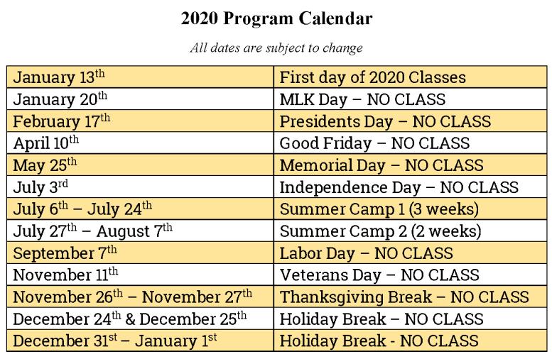 2020 Program Calendar Tentative
